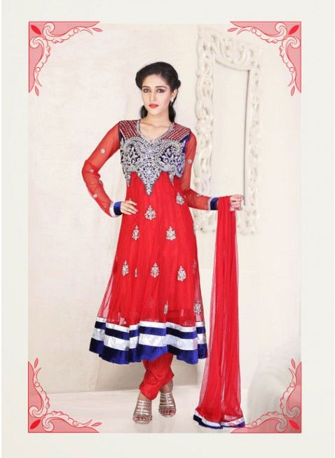 Rose- madder red embroidered #anarkali_suit with floral work