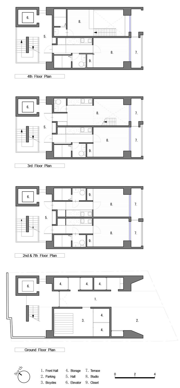 Apartment in Katayama ~ Elevation, Section and Floor Plans | WHAT WE DO IS SECRET