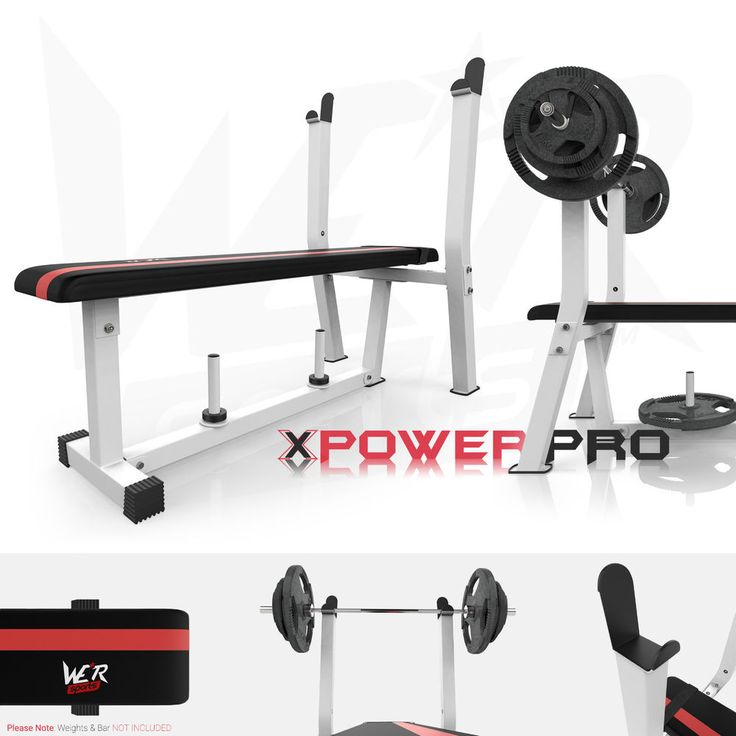 Flat Weight Bench With Rack & Plate Holder Shoulder Chest Press Fitness Workout