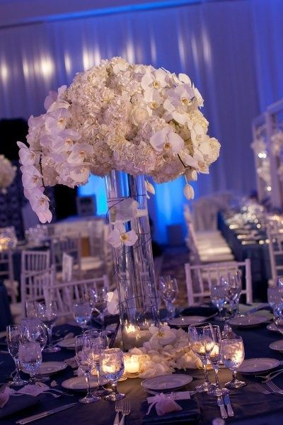 Elegant Wedding Centerpiece Ideas Hydrangeas Cost Effective And Orchids In Large Vases Surrounded By Petals Tea Lights