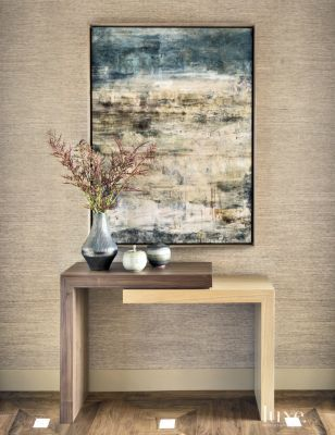 Dark Grass Cloth Wallpaper Marks The Foyer. Find This Pin And More On Console  Table Accessories ...