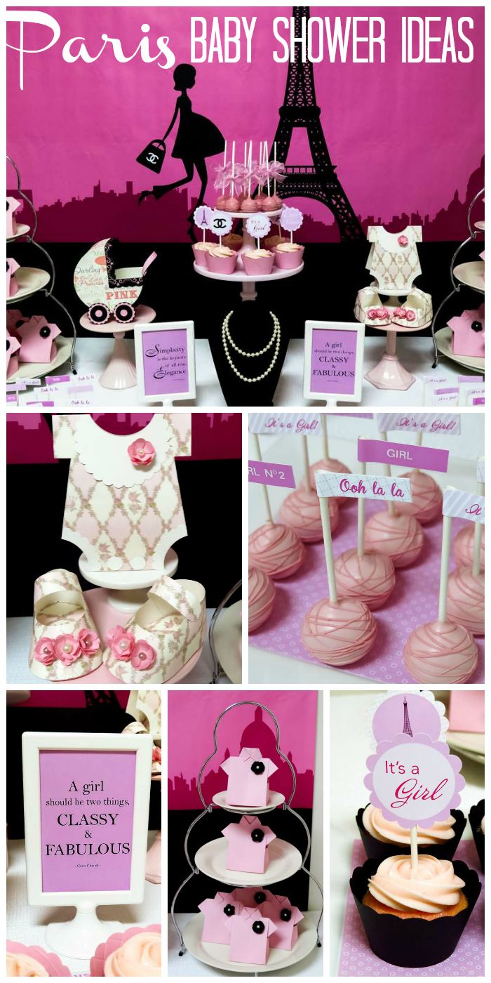 A Pink Paris Chanel themed baby shower with cake pops, a great backdrop, pearls and cute baby decorations! See more party ideas at CatchMyParty.com!