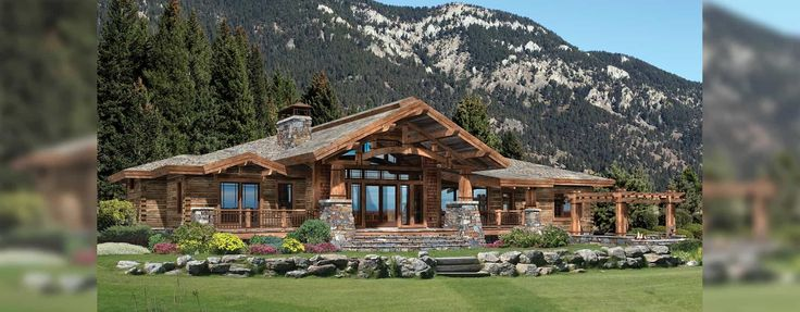 Wood River hybrid log and timber home Rendering.  Precision Craft Homes