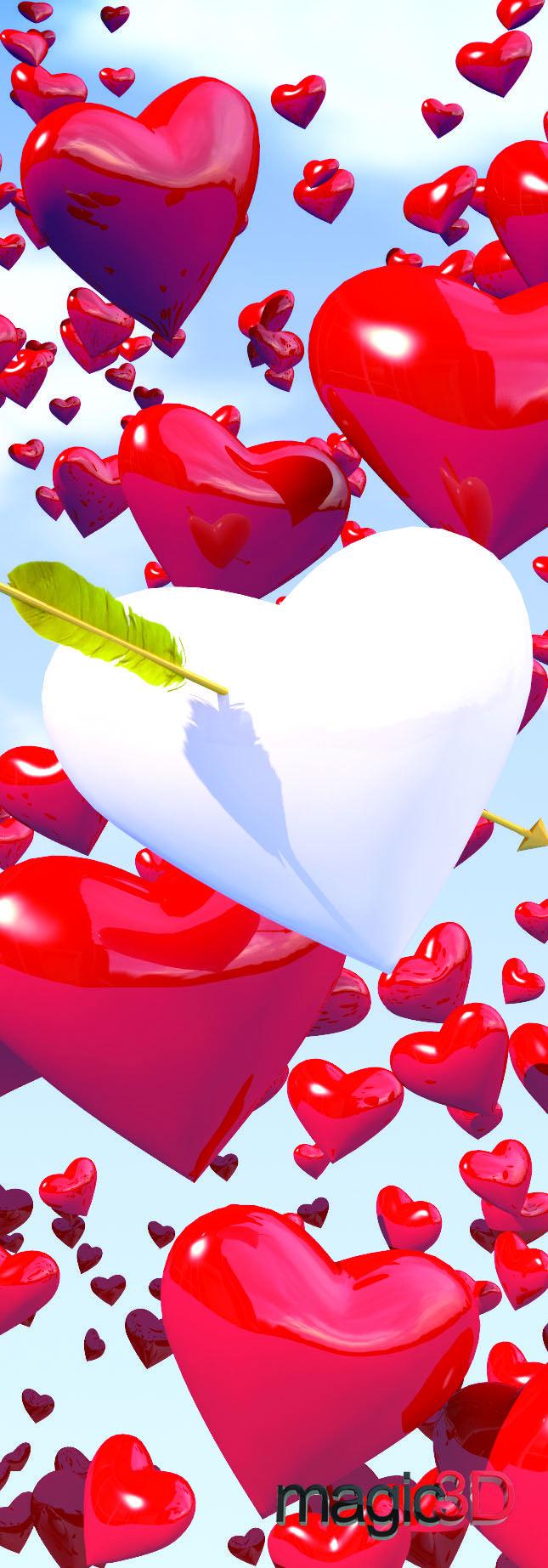 "Magic 3D Hearts - Bookmark/6"" Ruler #013"