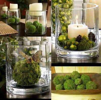 Moss Balls:  Vase with a candle and Christmas ornaments or with a butterfly.