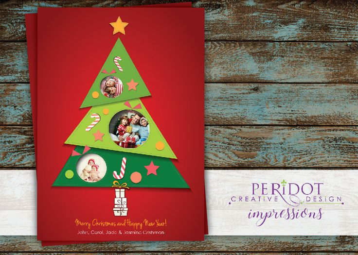 """Whimsical Christmas Tree Card with 3 photos - 5""""x7"""" by PeridotImpressions on Etsy"""