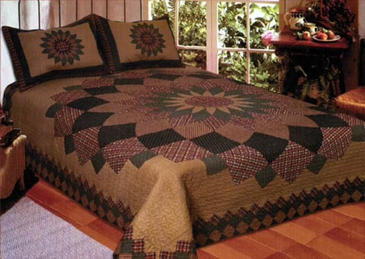 Alexandra Dahlia Queen Quilt Set 2 Shams Country Primitive Lodge Cottage Lodge #AmericanHometex #Country