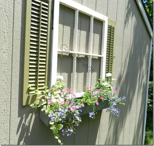 Faux Window - window box with shutters... Fun way to add interest to a blank and boring wall.