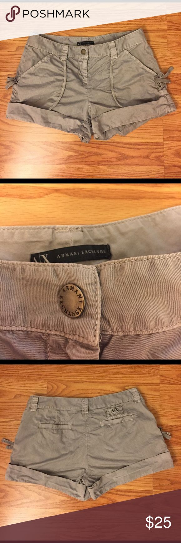 Armani Exchange cargo shorts Armani Exchange cargo shorts. Grayish light blue color. Silver hardware. Super comfortable. Will steam before shipping out! Not sure why, but cannot locate label with size. I believe they are a size 0. Will provide exact measurements upon request! Armani Exchange Shorts Cargos