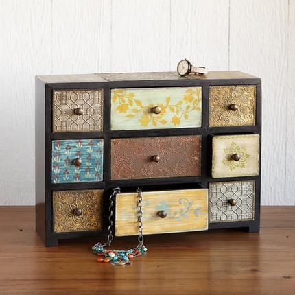Little Treasures Nine-Drawer Box Artisan crafted a pleasing patchwork of painted wood and embossed metal stores jewelry or other little treasures in nine ... & 26 best sundance decor images on Pinterest | Artisan jewelry ... Aboutintivar.Com