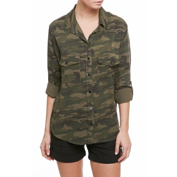 Women's Sanctuary Camo Print Boyfriend Shirt ($99) ❤ liked on Polyvore featuring tops, camp camo, military shirt, oversized boyfriend shirt, camo sleeve shirt, camoflauge shirt and twill shirt