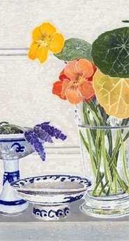 Cressida CAMPBELL - Lavender and nasturtiums - watercolour paint on stonehenge paper, 2009