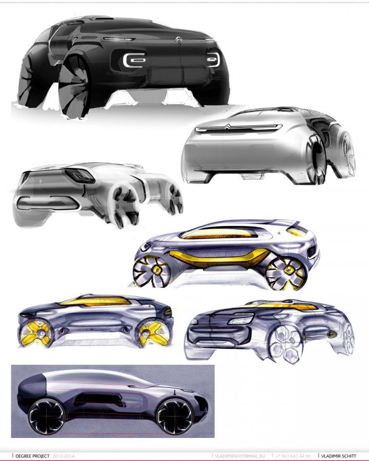 Citroen SUV Concept Design Sketches by Vladimir Schitt
