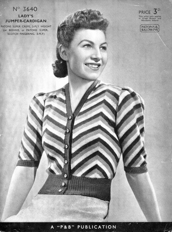Amazing Striped Sweater Blouse Cardigan 33 Bust Patons 3610 Vintage 1930s Knitting Pattern