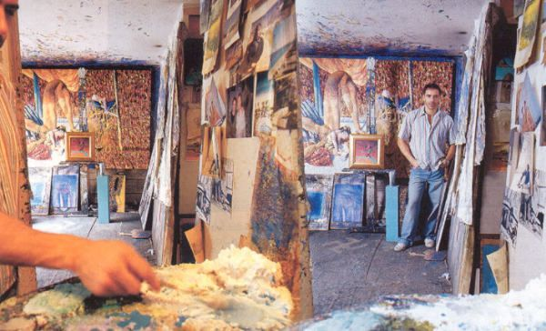 German Londoño, pintor, en su taller - German Londoño