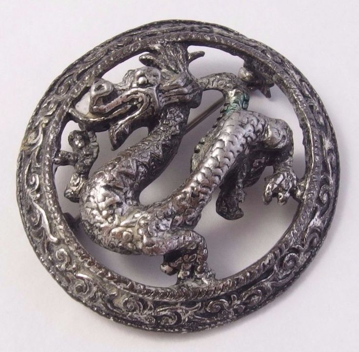 Vintage MIRACLE Scottish Celtic Silver tone [antiqued pewter?] Dragon Brooch Pin  | eBay
