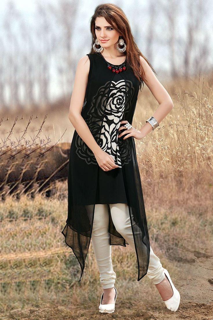 Aishwarya Stylish Black Printed Kurti @Looksgud.in #Aishwarya, #Black, #Printed…