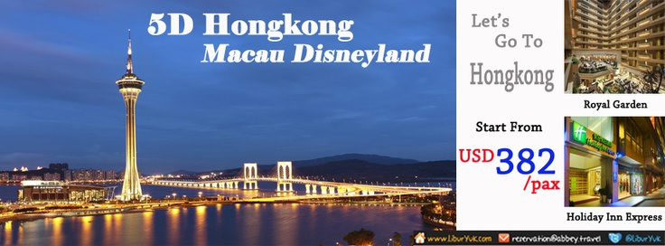 Jalan-jalan ke Hongkong dan macau,Anda akan diajak berkeliling kota macau mengunjungi Penha Hill, Ruins of St Pauls, A-ma Temple & Venetian Resort.Anda juga akan diajak berpetualang di Disneyland.Ayo booking sekarang juga!  Dapatkan Special Paket tersebut dari LiburYuk.com http://liburyuk.com/listpackage/5D+HONGKONG+MACAU+DISNEYLAND atau kontak team reservasi kami di reservation@Abbey.Travel