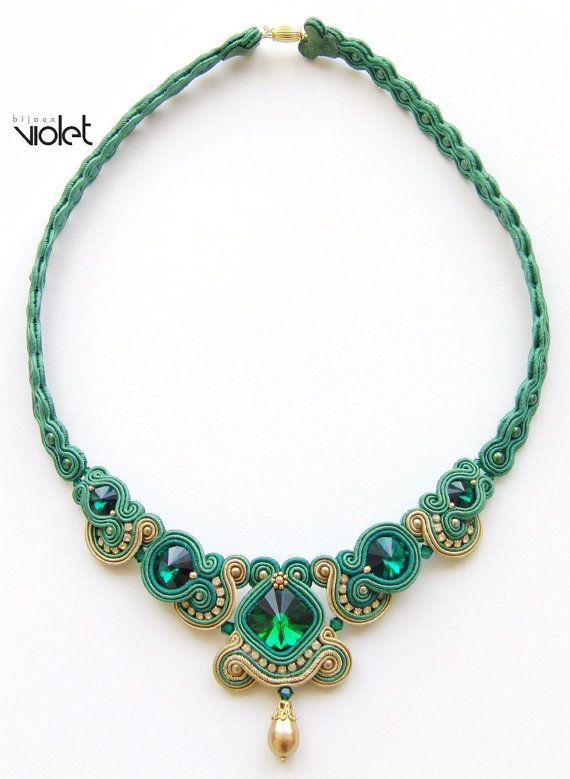 Soutache Necklace Tea by Violetbijoux on Etsy