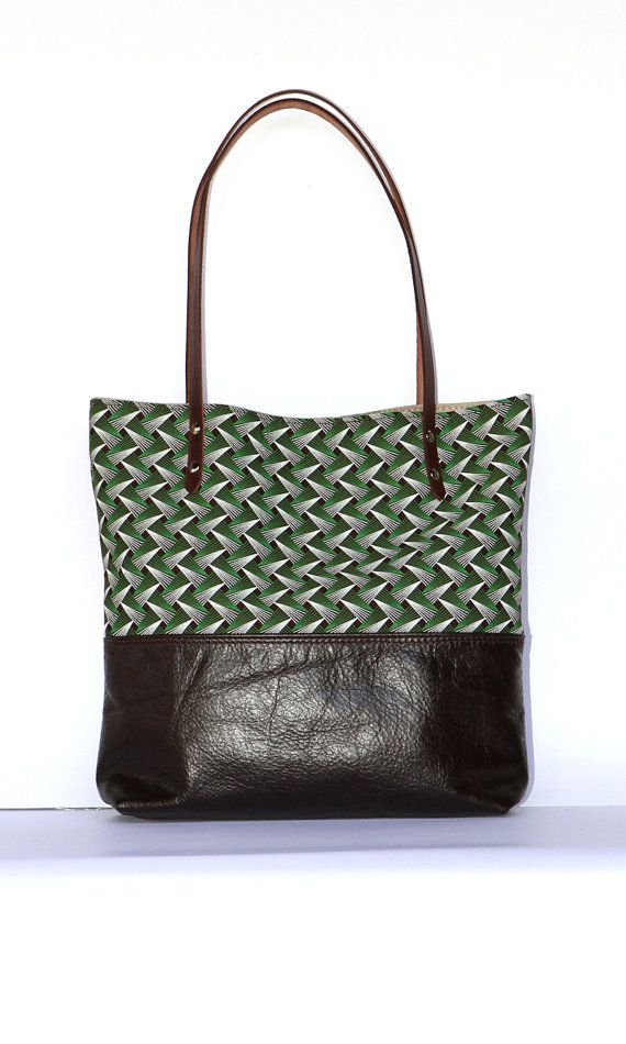 The Ana Tote || African Brown Leather Tribal Tote Bag with Shweshwe, Christmas Gift for her