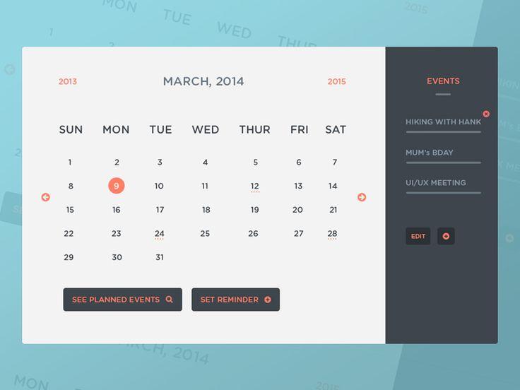 Freebie: Freebie PSD: Calendar UI & Events UI Template - http://www.vectorarea.com/freebie-freebie-psd-calendar-ui-events-ui-template