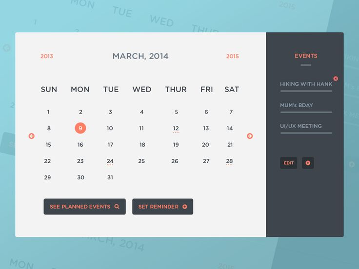 Freebie PSD: Calendar UI & Events