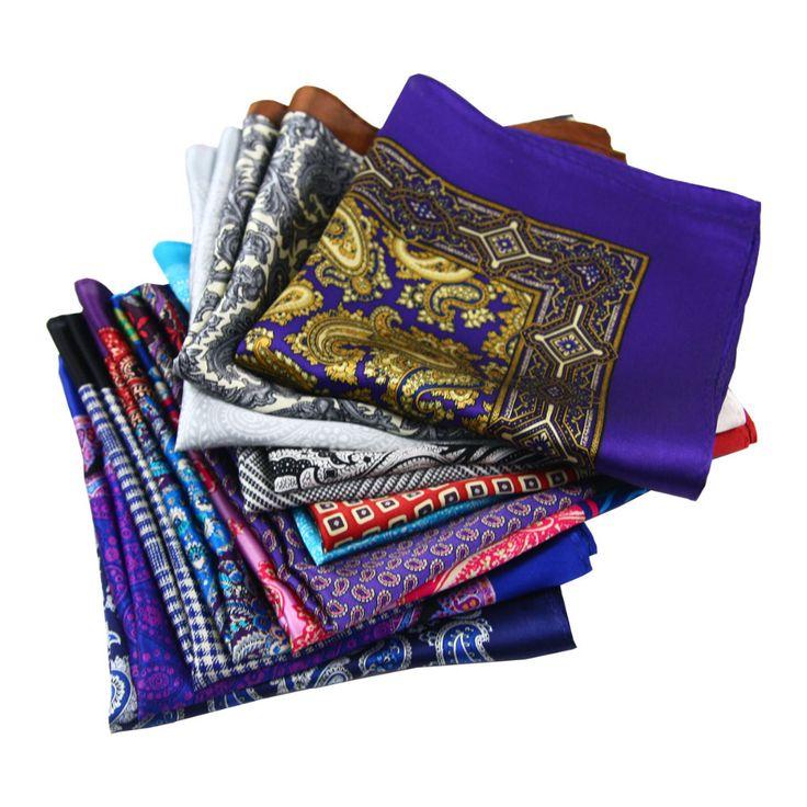 2017 Men's Handkerchief 100% Silk Handkerchiefs Pocket Square Paisley Hankie Floral Hanky Men business Suit Fashion Accessories