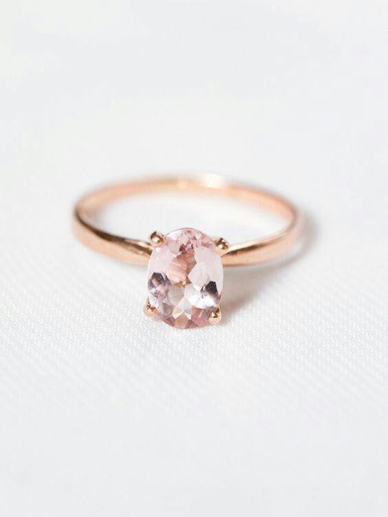 Rose gold rose quartz simple oval engagement ring