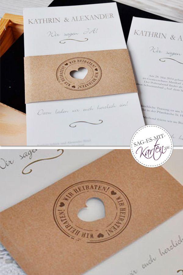 Vintage Diy Hochzeitseinladung Mit Rustikaler Kraftpapier Banderole