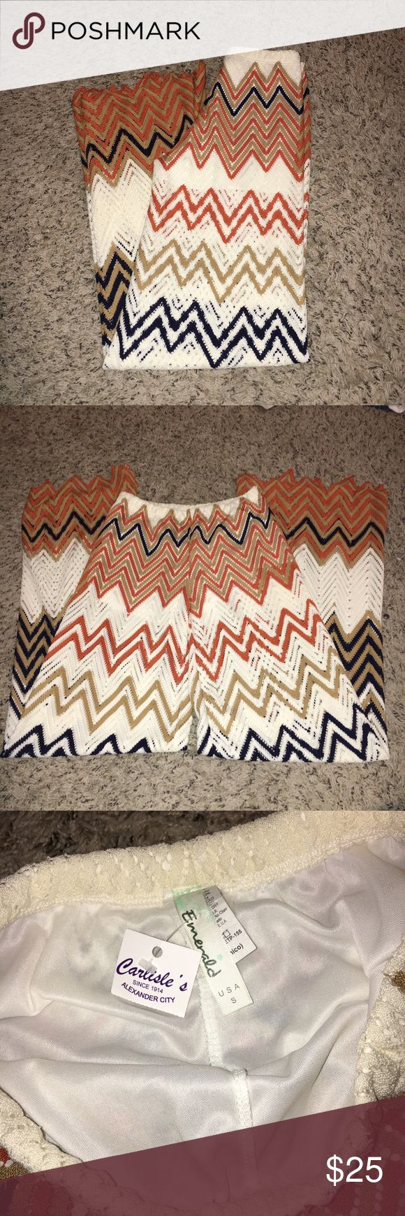 Chevron pants Casual, airy chevron pants. Orange, blue, and white. Can be adjusted to a shorter length simply by cutting the thread in between the pattern. Size small. Pants