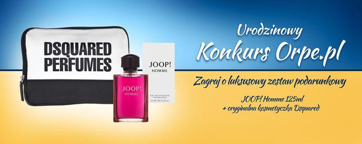 Weź udział w naszym nowym konkursie i wygraj   wodę toaletową Joop! Homme oraz kosmetyczkę DSQUARED! Nie czekaj i zagraj już dziś: https://www.orpe.pl/konkurs