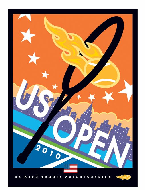 Poster for the 2010 US Open Tennis Tournament in New York City by Ted Wright Illustration & Design.