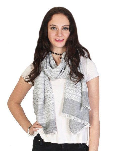 Elegant Versatile Lightweight Striped Fashion Scarf Frayed Edges