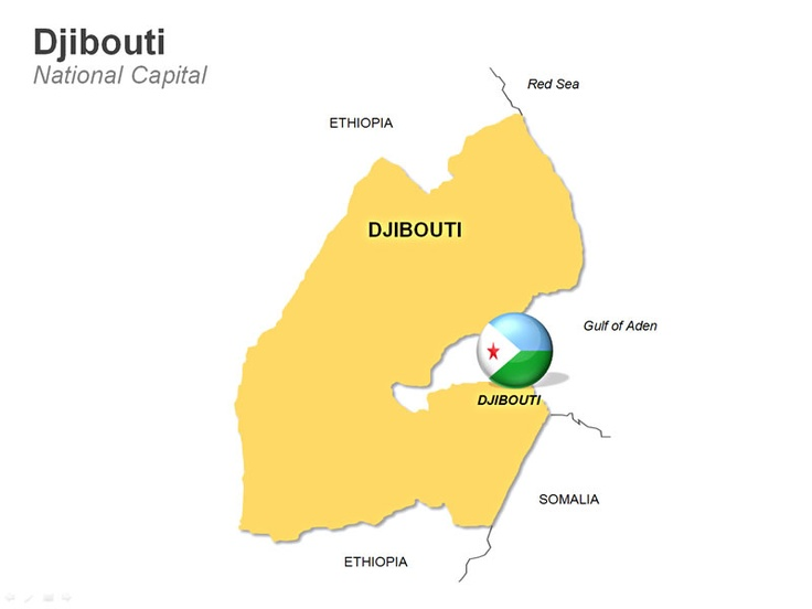 Editable PowerPoint Map: Djibouti Map