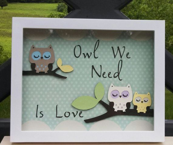 Owl nursery art Adorable Owl on a branch with the saying Owl we need is love