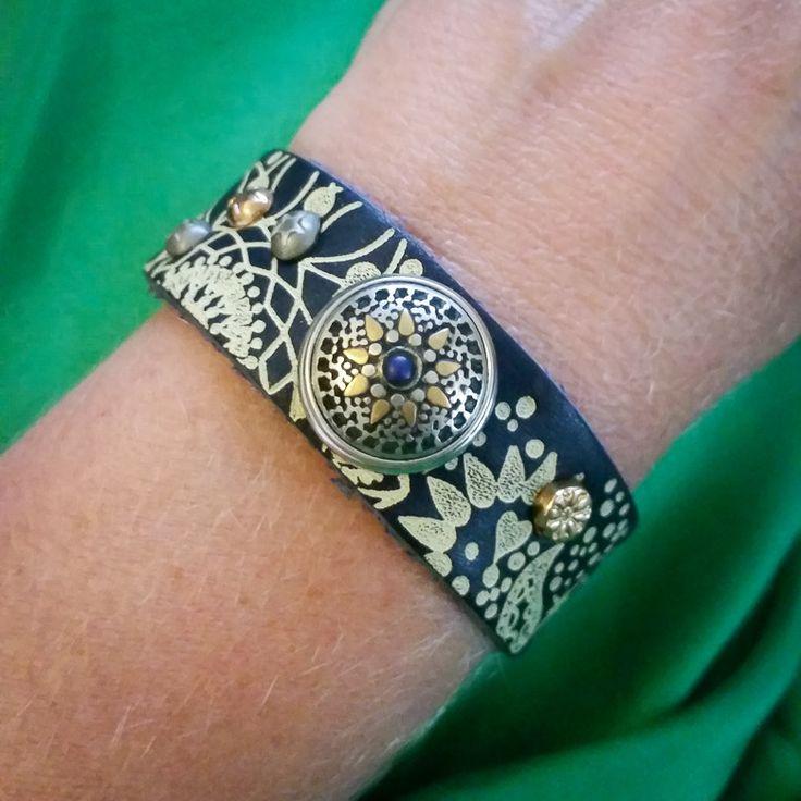 Noosa Amsterdam Bracelet - Divali Print Wrap Bracelet - Dark Blue