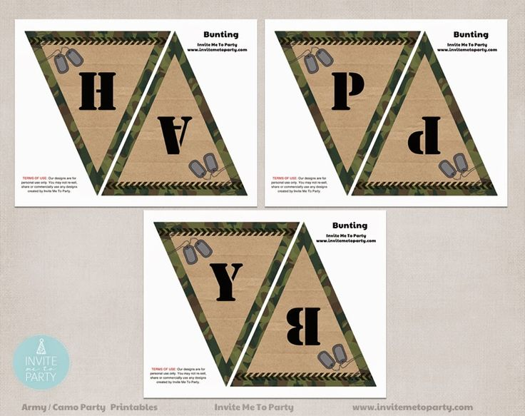 Army Party bunting | Camo Party Bunting Invite Me To Party: Army Invitation | Camo Party