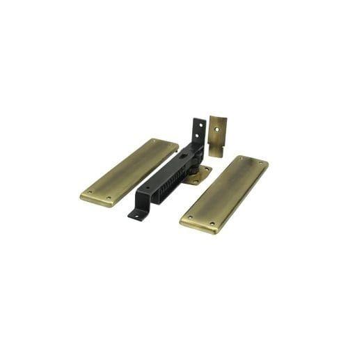 "Deltana DASH95 3.75"" x 9.25"" Solid Brass Plain Bearing Surface Mount Double Action Floor Hinge - Single Hinge"