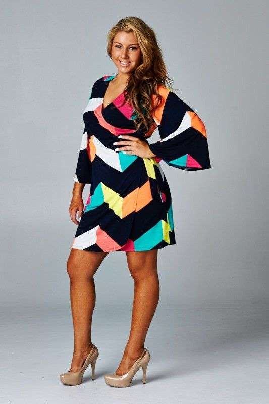 "Our ""Dacy's Chevron Dress"" is a wrap around and is made of 95% Polyester and 5% Spandex."