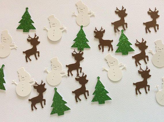 Christmas confetti Snowman confetti Christmas tree confetti