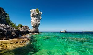 Flowerpot Island summertime scenic, Fathom Five national marine park, Ontario, Canada.