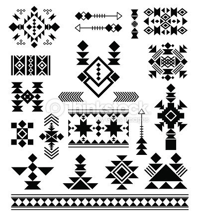 Aztec tribal ethnic elements. Vector patterns of American Indians