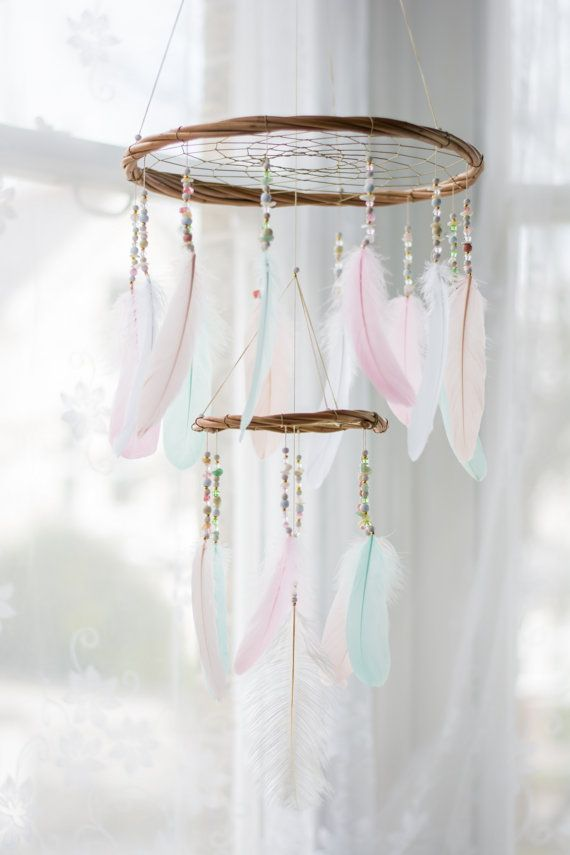 Dream Catcher Nursery Mobile Chandelier – Nursery Dream Catcher Mobile Boho Mobile Boho Crib Mobile Bohemian Mobile Chandelier