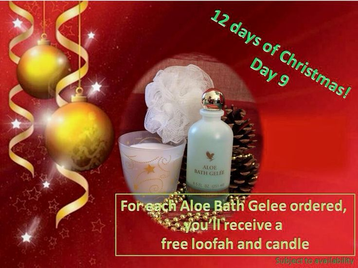 Day 9 - - have a look - a new offer each day    Browse at www.aloevivi.myforever.biz/store    buy Aloe Bath Gelee: Beautifully-scented, refreshing bath and shower gel, rich in aloe vera. Helps to gently moisturise the body and leaves the skin feeling irresistibly soft.   get a Loofah and candle free.