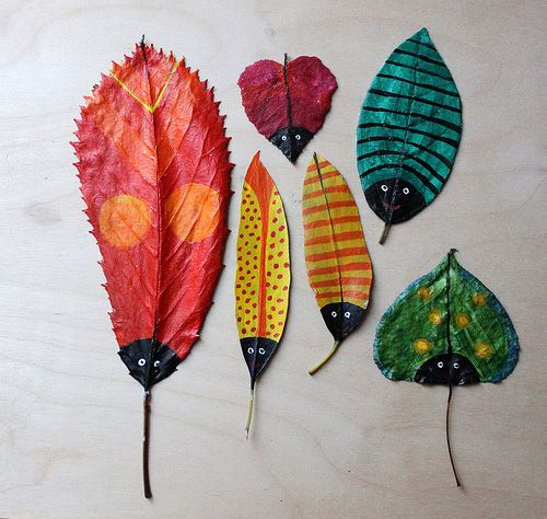 DIY leaf craft: painted leaves to look like bugs by Hazel Terry