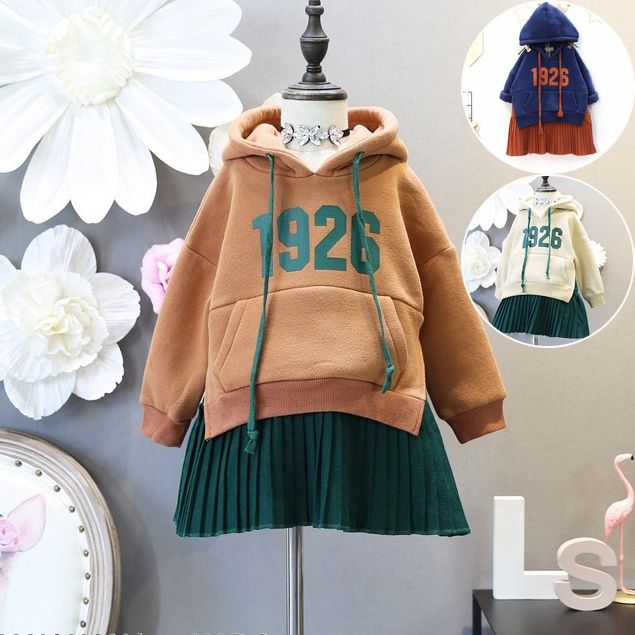 Baby Girl Hoodies Sweater Dress Letter Printed Fleece Dress Sweatshirts Kids Girls Winter Hooded Patchwork Dresses Sport Clothes //Price: $32.00 //     #baby
