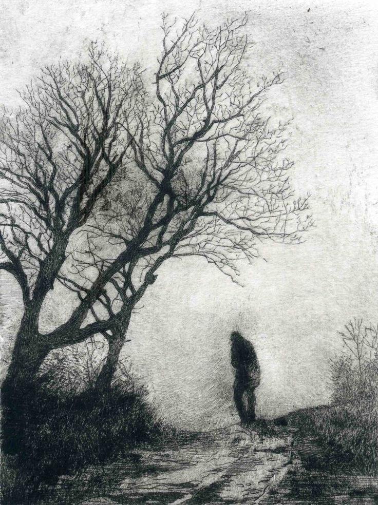 La fuite, original limited edition drypoint.  www.brunocavellec.com