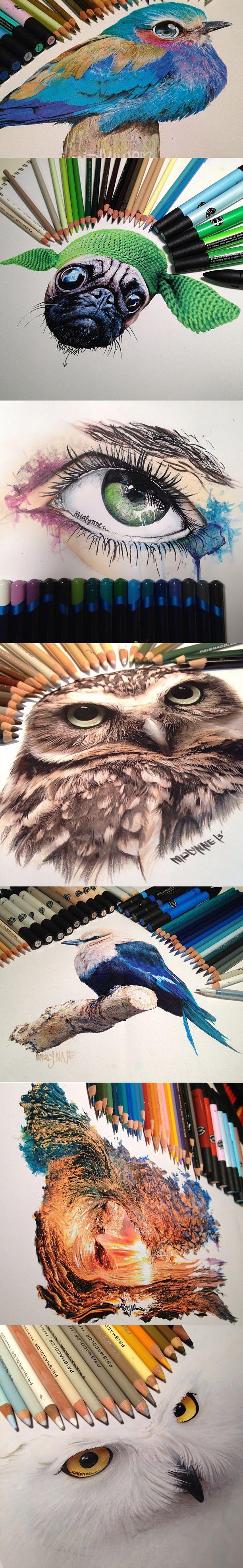 Hyperrealism with crayons, markers and ink. Se complete post: http://sala7design.com.br/2015/01/hiper-realismo-com-lapis-de-cor-marcadores-e-tinta-acrilica.html