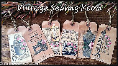 6xSewing Room paper ephemera,Party favor,Scrapbook Card Making,Gift Favor Tags