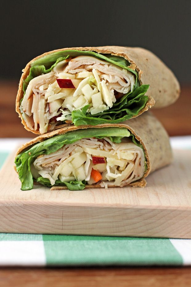 These Apple Cheddar Turkey Wraps are a healthy, easy lunch idea at just 277 calories or 7 Weight Watchers SmartPoints. Packed with protein and fiber!